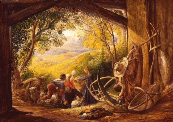 Palmer, Samuel: The Shearers. Landscape/Farming Fine Art Print/Poster. Sizes: A4/A3/A2/A1 (003188)